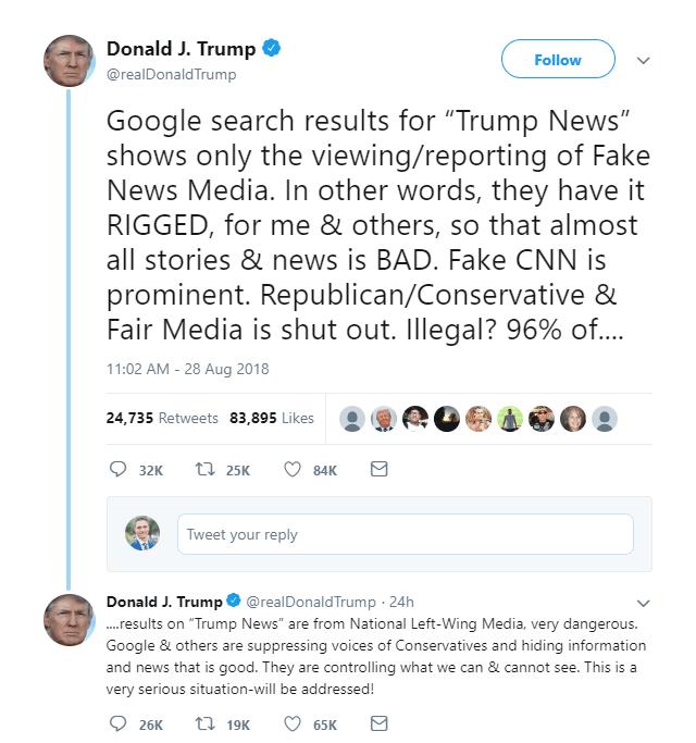Trump's tweet about Google