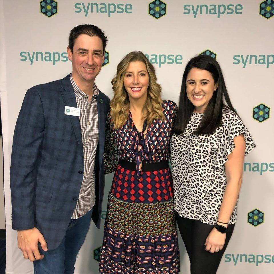 Synapse's Brian Kornfeld poses with Spanx CEO Sara Blakely at Synapse 2020.