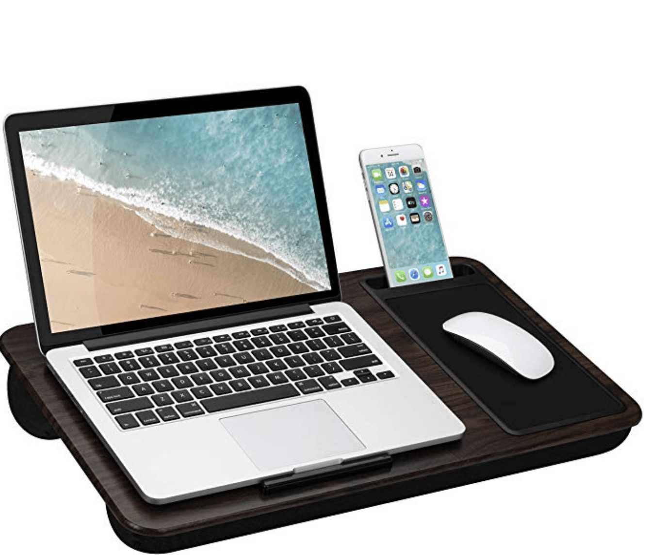 This lap desk with space for a mouse for those of us without space for a desk
