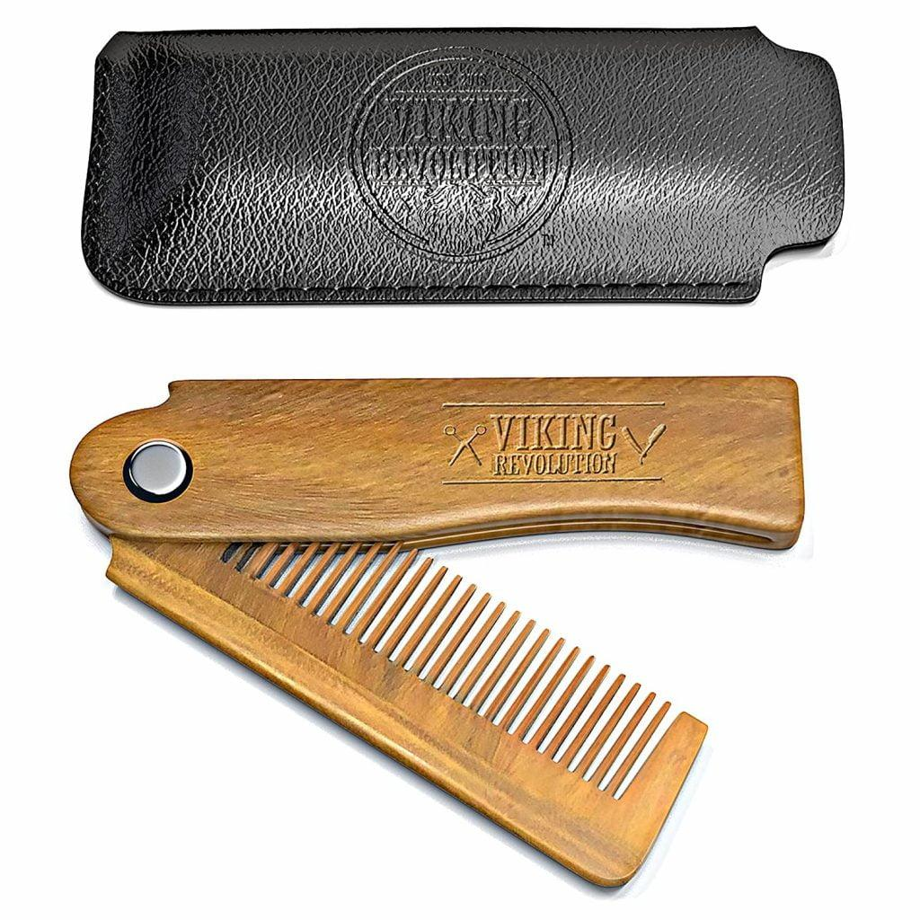 Folding Beard Comb w/Carrying Pouch for Men