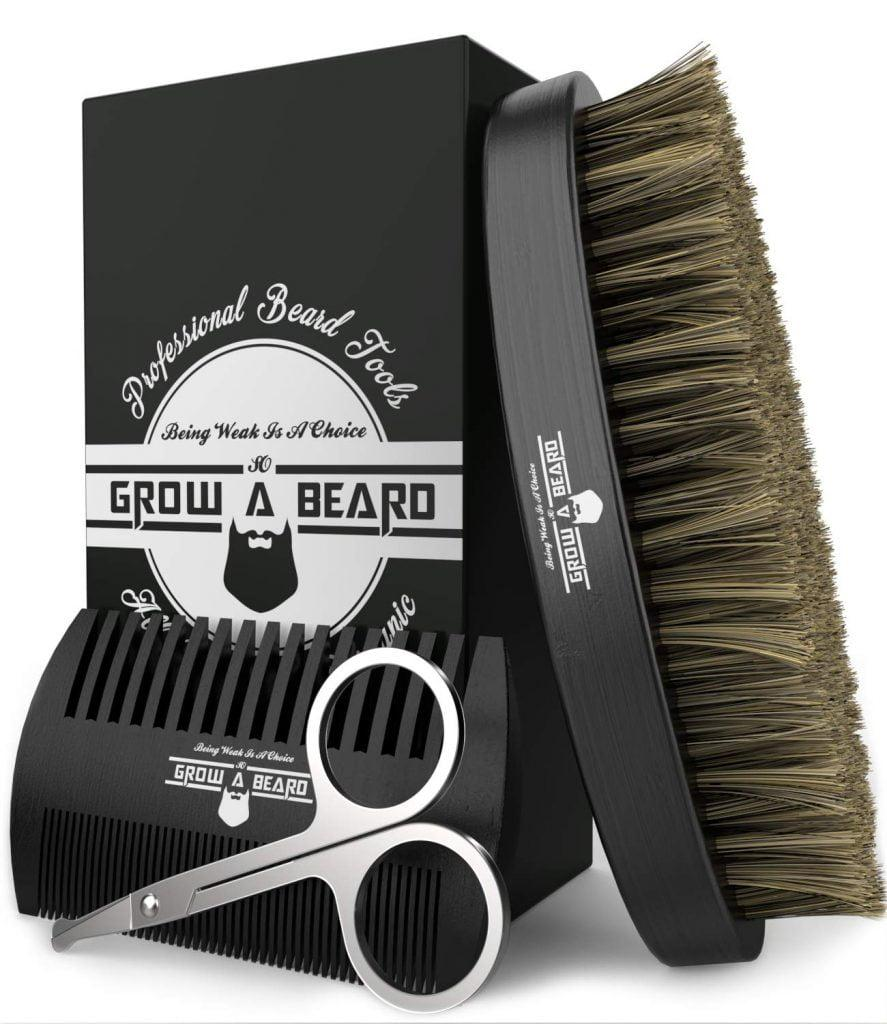 Beard Brush, Comb, Scissors Grooming Kit for Men's Care