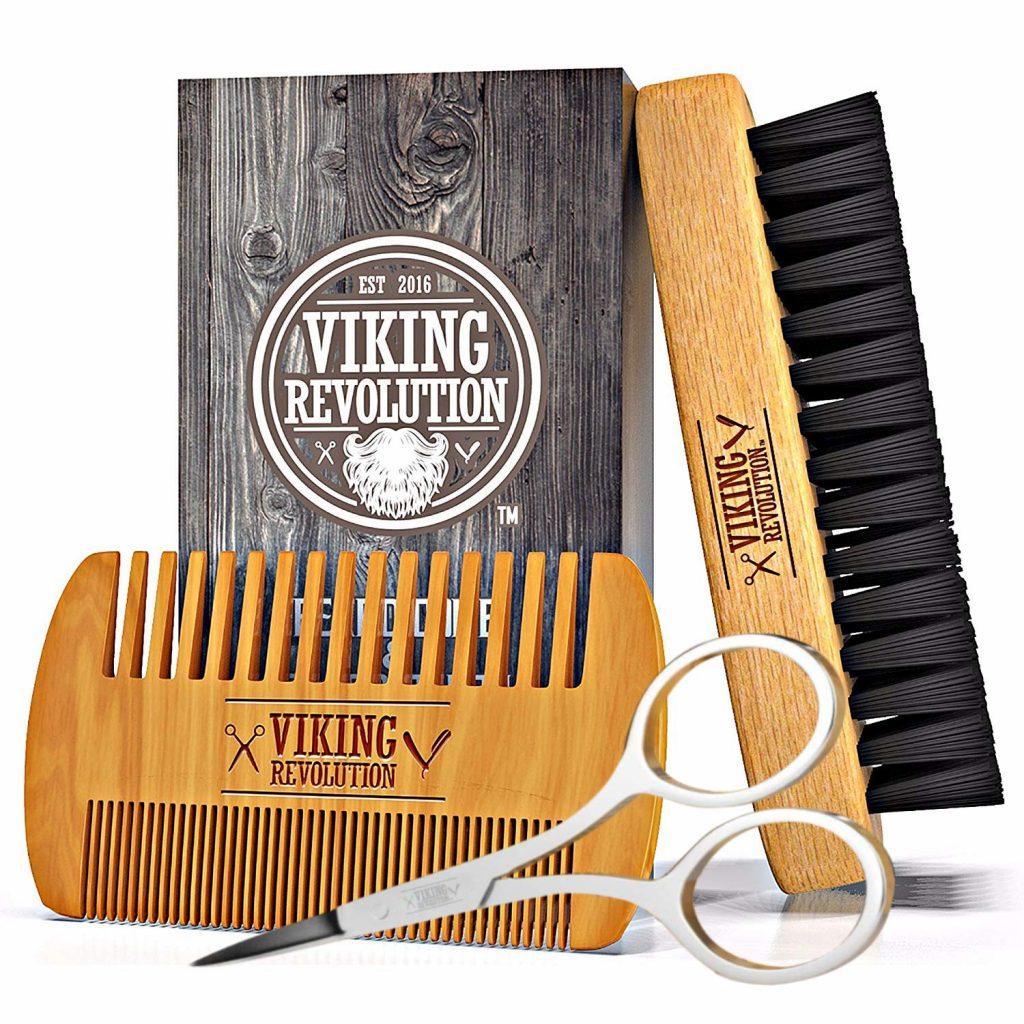 Viking Revolution Beard Comb & Beard Brush Set for Men